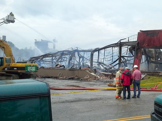 plywood factory fire
