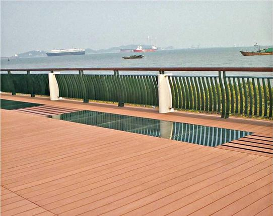 Eco-friendly wood plastic composite used in outdoor deck flooring; (right) the IPIRTI building
